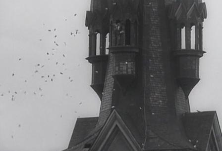 To nejsou ptáci kroužící v hejně kolem věže