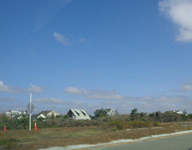 Opouštíme Jones Beach, z auta se díváme na sever do zálivu.